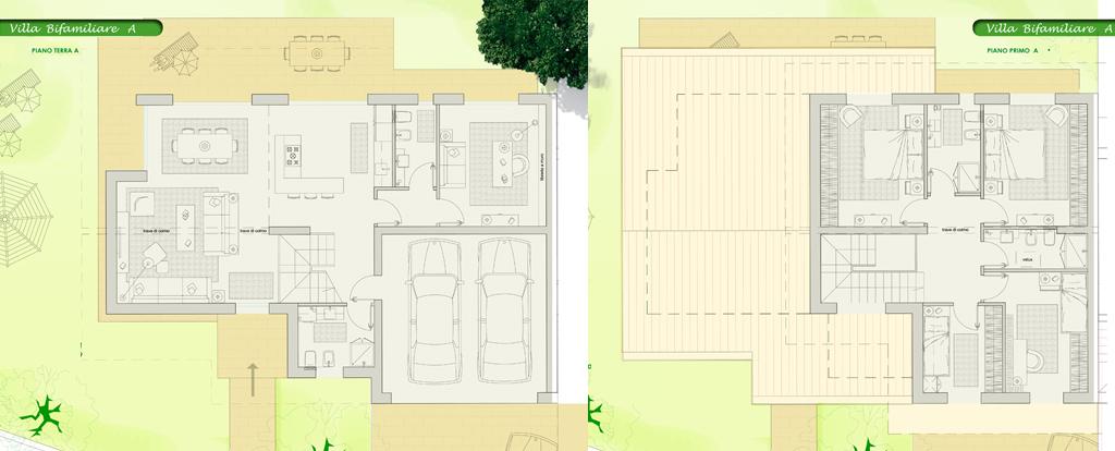Villa bifamiliare classe a su due piani for Piani abitativi per un piano