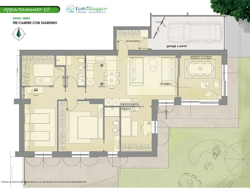 Appartamento con tre camere e giardino progetto mia for Garage di costruzione in acciaio con appartamento