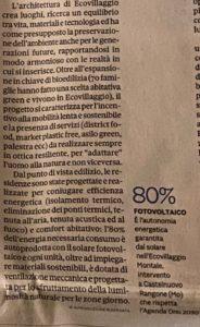 trafiletto Sole24 Ore - Ecovillaggio Montale