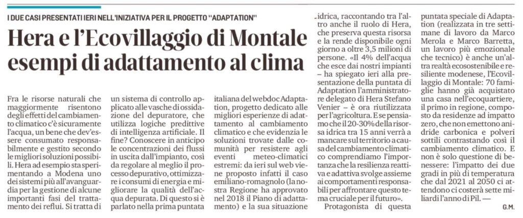 articolo ADAPTATION Gazzetta di Modena_15.12.2020